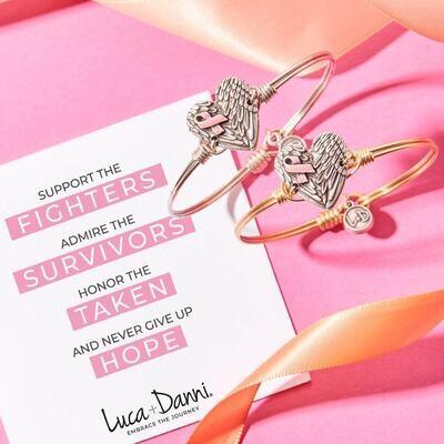Luca + Danni Breast Cancer Angel Wing Heart Bracelet