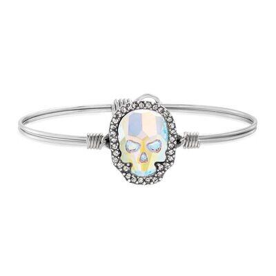 Luca + Danni Crystal Pave Skull Bracelet in Aurora Borealis