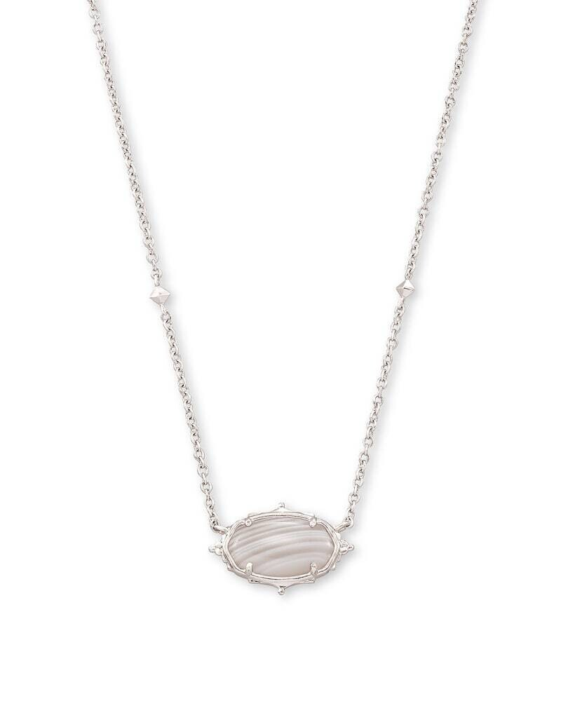 Kendra Scott Baroque Elisa Silver Pendant Necklace in Gray Banded Agate