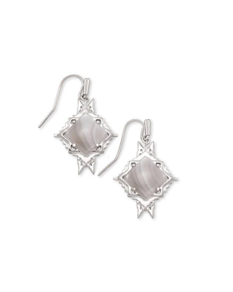 Kendra Scott Cass Silver Drop Earrings in Gray Banded Agate