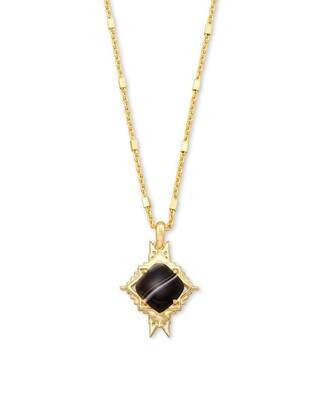 Kendra Scott Cass Gold Long Pendant Necklace in Black Banded Agate