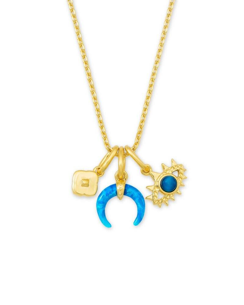 Kendra Scott Gemma Gold Charm Necklace Set in Teal Mix