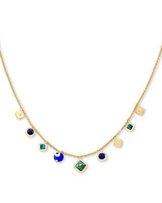 Kendra Scott Gemma Gold Strand Necklace in Teal Mix