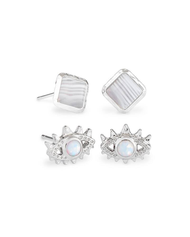 Kendra Scott Gemma Silver Stud Earrings Set Of 2 in Gray Banded Agate