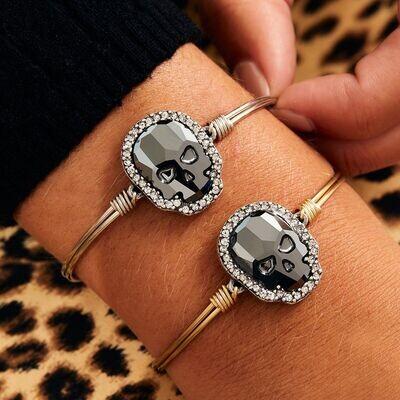 Luca + Danni Crystal Pave Skull Bracelet in Silver Night