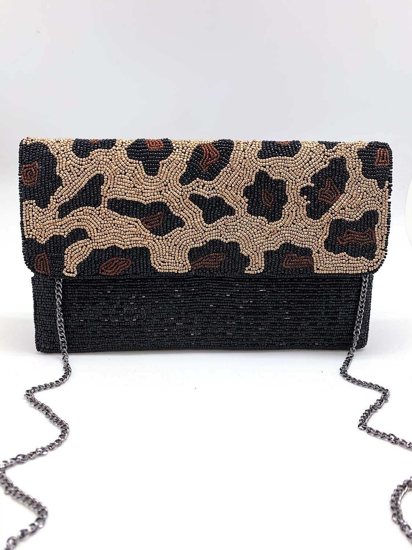 La Chic Leopard Flap Beaded Bag