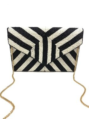La Chic Black & White Striped Beaded Bag
