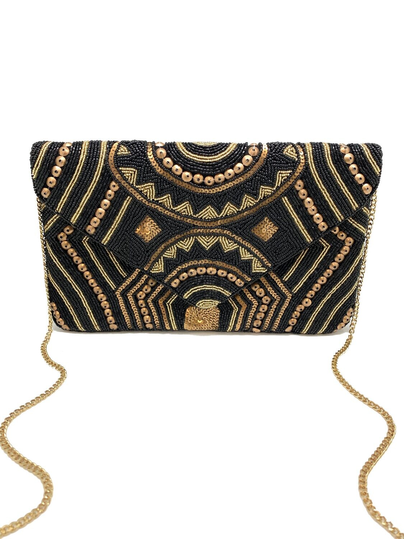 La Chic Black & Gold Beaded Bag