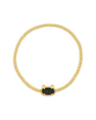 Kendra Scott Grayson Gold Cat Stretch Bracelet in Black Drusy