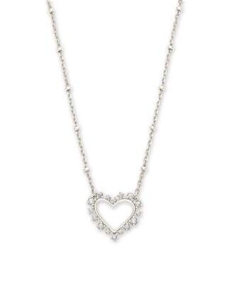 Kendra Scott Ari Heart Silver Necklace in Crystal