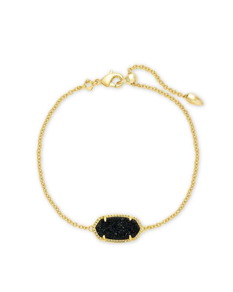 Kendra Scott Elaina Gold Single Slide Bracelet in Black Drusy