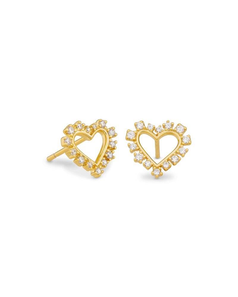Ari Heart Gold Stud Earrings in Crystal