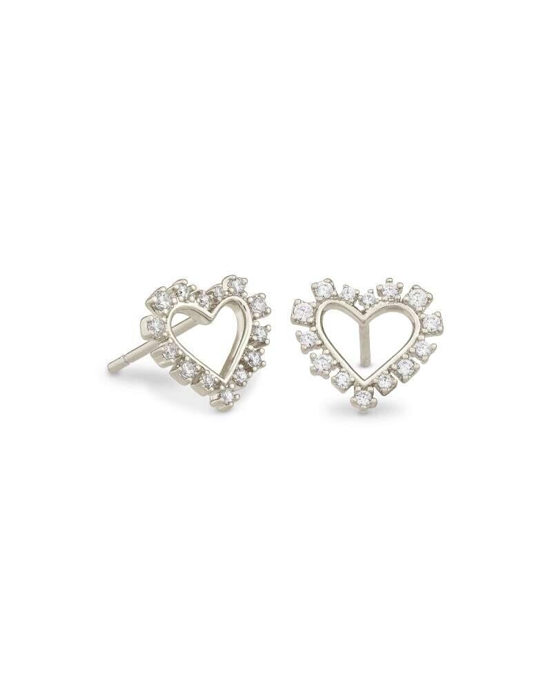 Ari Heart Silver Stud Earrings in Crystal