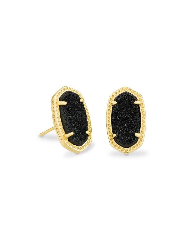Kendra Scott Ellie Gold Stud Earrings in Black Drusy