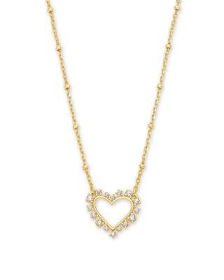 Kendra Scott Ari Heart Gold Necklace in Crystal