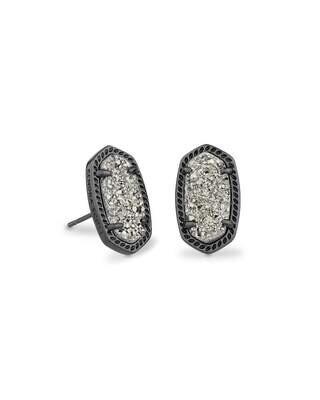 Kendra Scott Ellie Gunmetal Stud Earrings in Platinum Drusy