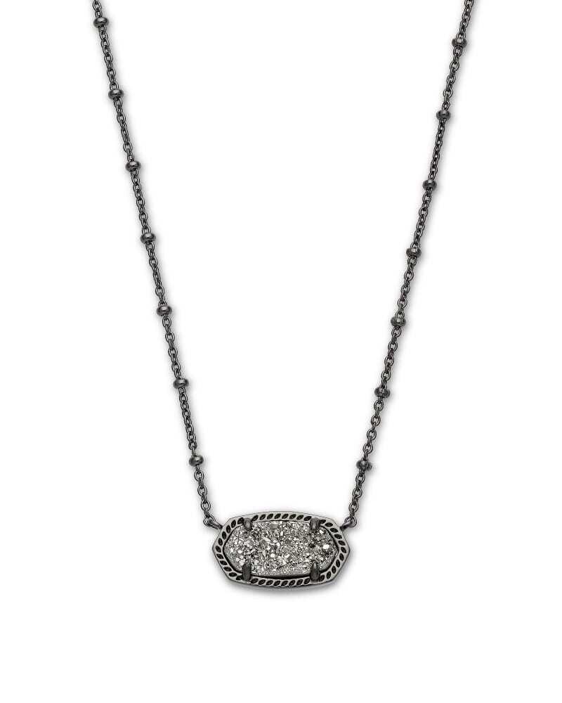 Kendra Scott Elisa Gunmetal Satellite Pendant Necklace in Platinum Drusy