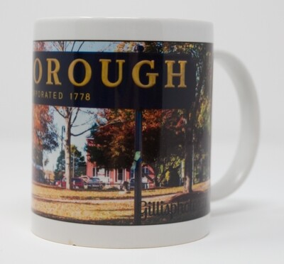 Foxboro Fall Clearance Gallery-11 OZ Photo Image Mug-Iconic Foxboro Sign in Autumn Colors