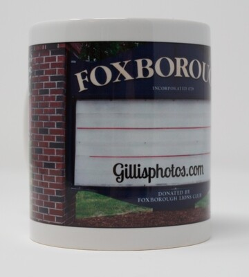 Foxboro Gallery-Special Order Christmas Sale-11 OZ. Photo Mug- Foxboro Iconic Lions Club Sign-Blank​ or Personalize with Name and Message