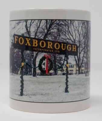 Special order on this popular item--please email us. Foxboro Special Christmas Sale-11 OZ. Photo Mug-Foxboro Sign in the Snow