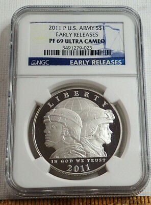 2011 P U.S ARMY S$1 (EARLY RELEASE) NGC PF70ULTRA CAMEO