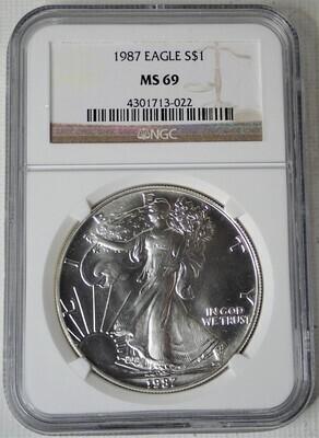 1987 $1 AMERICAN EAGLE NGC MS69 4301713-022