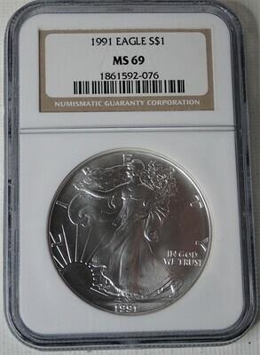 1991 $1 AMERICAN EAGLE NGC MS69 1861592-076