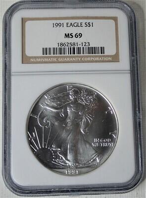 1991 $1 AMERICAN EAGLE NGC MS69 1862581-123