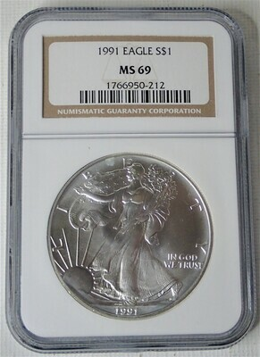 1991 $1 AMERICAN EAGLE NGC MS69 1766950-212