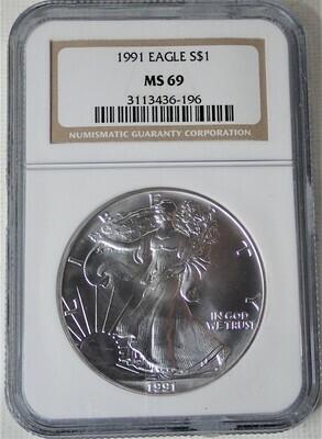 1991 $1 AMERICAN EAGLE NGC MS69 3113436-196