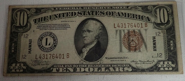 1934 A $10 SILVER CERTIFICATE {HAWAII} L431