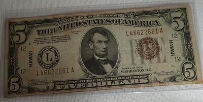 1934  $5 FEDERAL RESERVE NOTE {HAWAII} L466