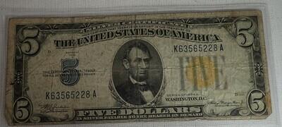 1934 A $5 SILVER CERTIFICATE {NORTH AFRICA} K635
