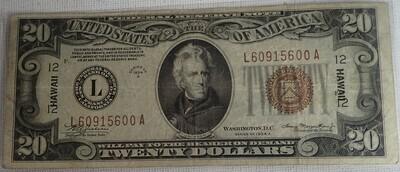 1934 A $20 FEDERAL RESERVE NOTE {HAWAII} L609