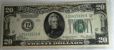 1928  $20 FEDERAL RESERVE NOTE  L054