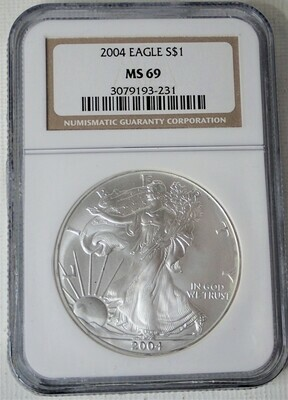 2004 SILVER $ AMERICAN EAGLE NGC MS69