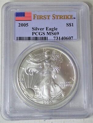 2005 SILVER EAGLE S$1 PCGS MS 69