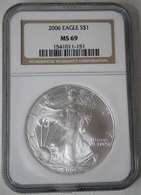 2006 SILVER $ AMERICAN EAGLE NGC MS69
