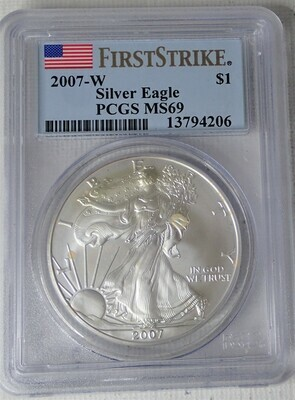 2007 W SILVER EAGLE S$1 (FIRST STRIKE) PCGS MS69