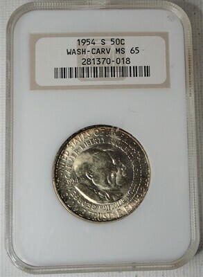 1954 S 50C WASHINGTON-CARVER NGC MS 65