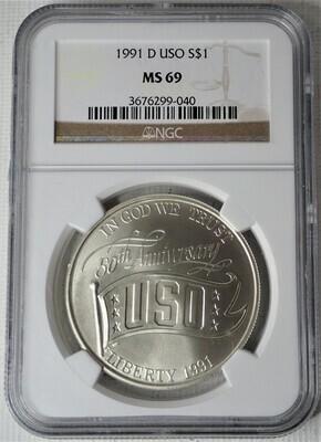 1991 D S$1 USO NGC MS69