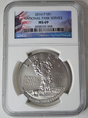 2016 P S$1 100TH ANNIV. NAT'L PARK NGC MS69