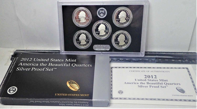 2012 U. S. MINT AMERICA  THE BEAUTIFUL SILVER QUARTER PROOF SET