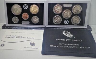 2017 U. S. MINT 225TH ANNIVERSARY ENHANCED UNC COIN SET
