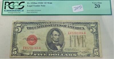 1928 C $5 MULE FR.1528M LEGAL TENDER NOTE PCGS VF20 E81291064A