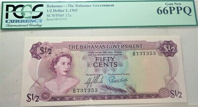 1965 $.50 BAHAMAS-THE BAHAMAS GOVERNMENT SCWPM# 17A PCGS 66PPQ