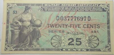 SERIES 481 $.25 MILITARY SCRIPT D03777697D