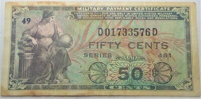 SERIES 481 $.50 MILITARY SCRIPT D01733576D