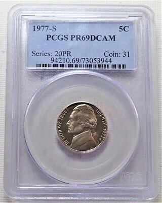 1977 S 5 CENT JEFFERSON PCGS PR69DCAM
