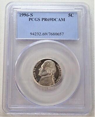 1996 S 5 CENT JEFFERSON PCGS PR69DCAM